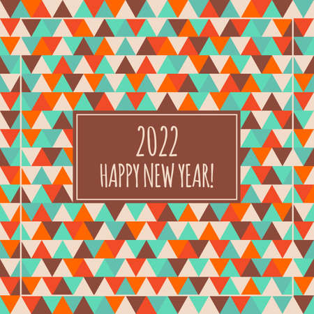 2022 Happy New Year illustration. Winter holiday geometry vector pattern. Decorative red orange blue brown seamless triangle background. Greeting card for celebration 向量圖像