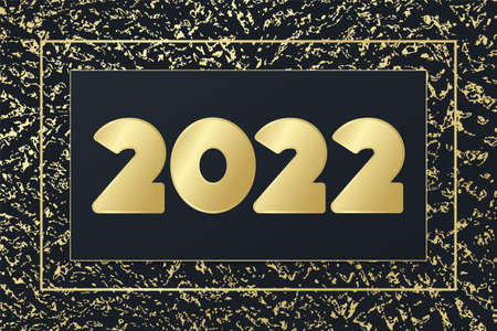 2022 New Year vector greeting card. Glowing icon with golden background. Banner for celebration, congratulation, web, design, glitter decoration