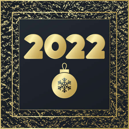 2022 Happy New Year vector greeting card. Glowing icon with golden background. Banner for celebration, congratulation, web design, decoration 向量圖像