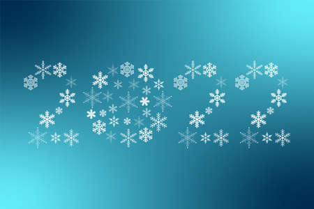 2022 New Year snowflakes sign. Vector icon on blue gradient background for decoration, design, celebration, winter, holiday, illustration, symbol 向量圖像
