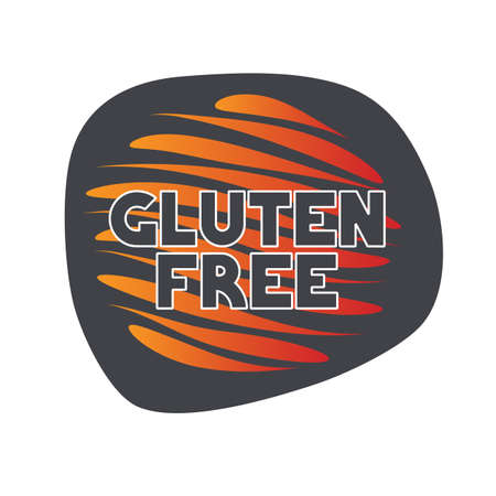 Gluten free icon. Gray orange vector sign isolated. Illustration symbol for food, product sticker, logo, package, label, diet, design element