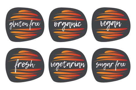 Gluten, Sugar free, Organic, Vegan, Fresh, Vegetarian icon set. Vector sign isolated. Illustration symbol for food, product sticker, logo, label, diet, design element