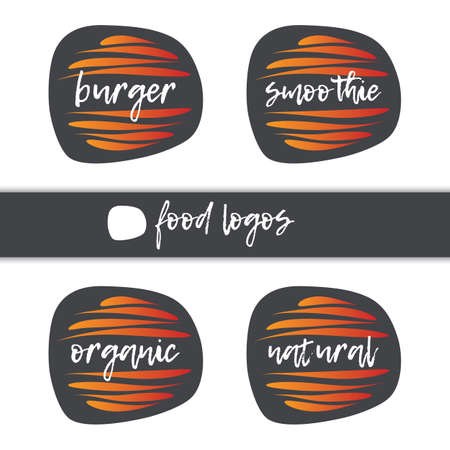 Burger, Smoothie, Organic, Natural icon set. Vector sign isolated. Illustration symbol for food, product sticker, logo, label, design element