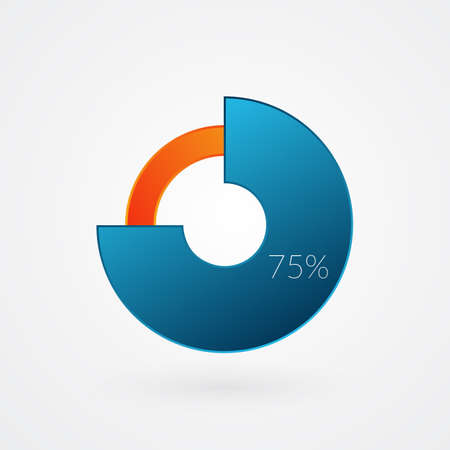 75 percent isolated pie chart. Percentage vector, infographic gradient icon. Circle sign for business, finance, web design, download, progress 向量圖像