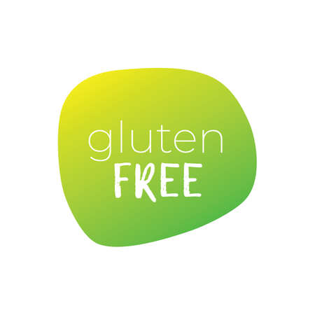 Gluten free vector icon. Green gradient sign. Illustration symbol for food, product sticker, package, label, diet, design, isolated element 向量圖像