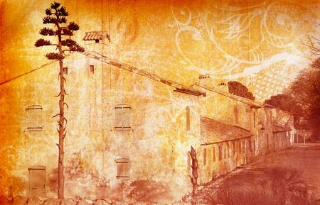 prison house: Grunge illustration of a street of houses one an island near Cannes, France
