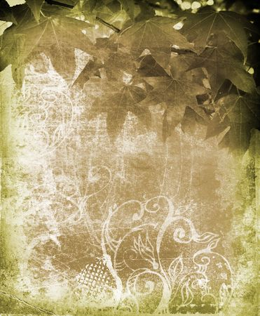 Grunge leaves brown background on paper texture with swirls and scrolls