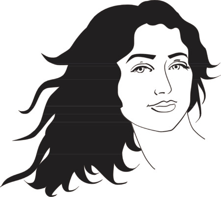 face book: Vector illustration of beautiful woman with long black curly hair