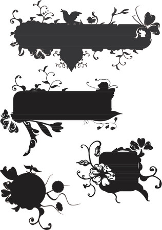 Vector grunge banners with swirls and scrolls, floral and plants elements