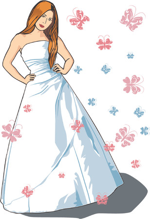 sleeveless: Beautiful vector bride with long brown hair in sleeveless dress and butterflies, dress colour can be changed for evening dress Illustration