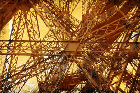 erection: Grunge abstract of the Eiffel Tower, Paris Stock Photo