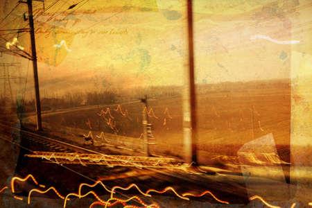 involved: involved grunge collage of railroad tracks - rural landscape