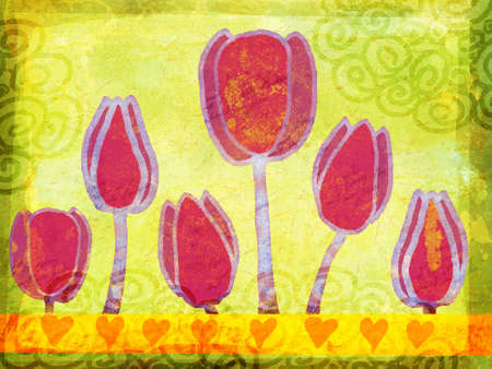 illustration of tulips in pink on soft green background