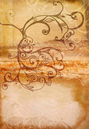 orange burnt edge book spread with swirls