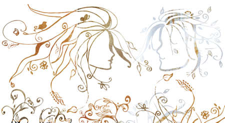 illustration of a couple in love looking at each other with spring motifs illustration