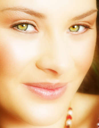 blushing: Young bride with large green eyes and golden skin Stock Photo