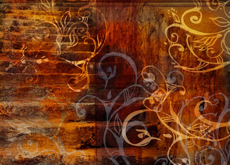burnt edges: orange stairs texture with swirls and design elements