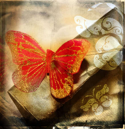 grunge illustration of red butterfly on textured background