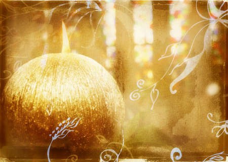 round gold candle on grunge background with swirls Stock Photo