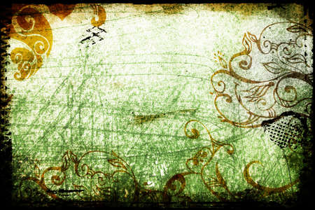 green grunge background with scratches and scrolls