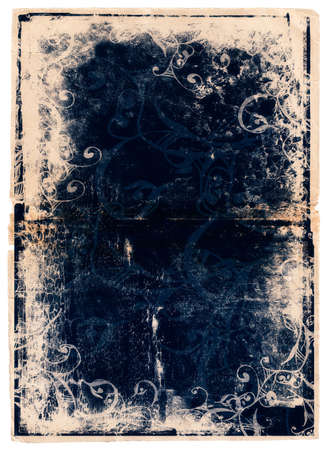 umber: pale damaged edge book page with dark ink illustrations and texture Stock Photo