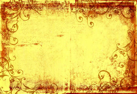 grunge warm frame with scrolls and stone texture for photo editing Stock Photo