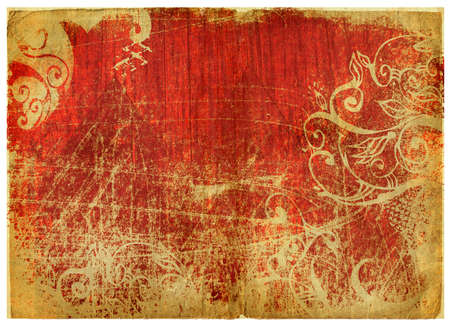 red and soft green damaged edge book page with swirls and scrolls