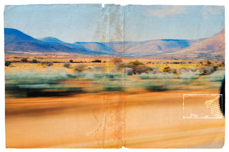 passing the road: Illustration of a South-African semi-dessert viewed out of the car