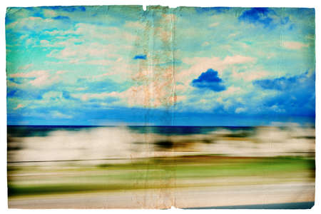 passing the road: Illustration of sea scene out of a window of the car