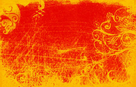 grubby: red and orange grunge background with scratches and scrolls Stock Photo