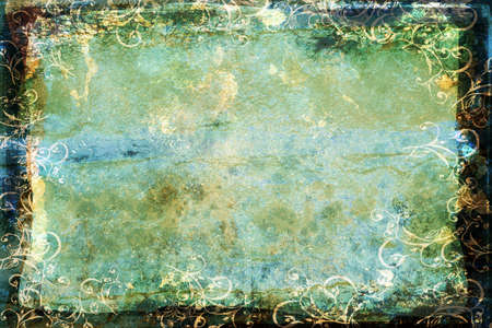 inked: dark faded blue-green sheet with spots and marks, swirls border and burnt frame