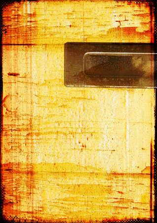 combined: Textura de madera con bordes quemados media combinada con elementos de metal que se pueden utilizar para colocar el texto Foto de archivo