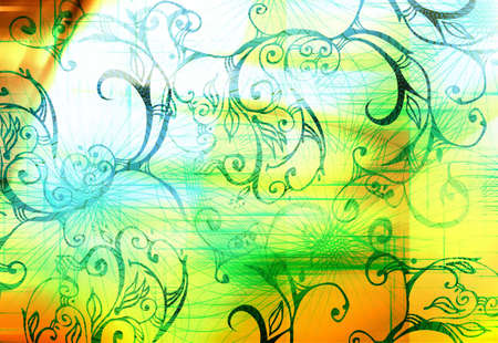 Digital background with movement and wire shapes photo