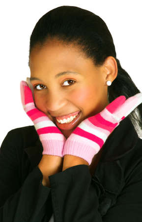 undergraduate: young african woman with a bright smile resting her face on hands in pink gloves