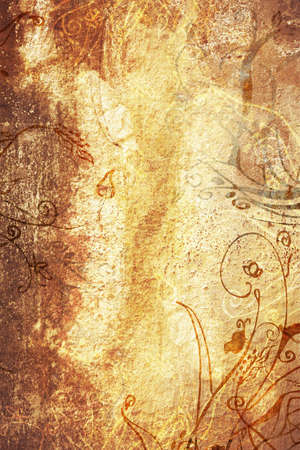 Grunge brown page with brown grubby painted texture and hand-drawn illustrations