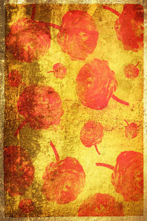 grubby: Grunge yellow page with red grubby painted texture and flower shapes
