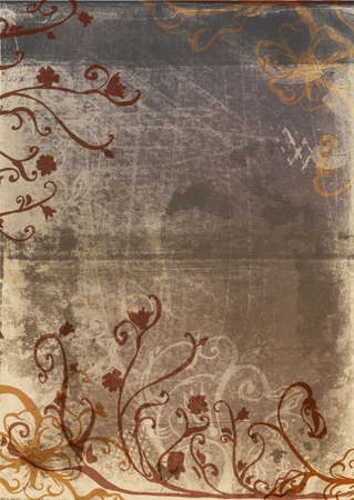 Grunge brown page with rustic texture and floral hand-drawn designs
