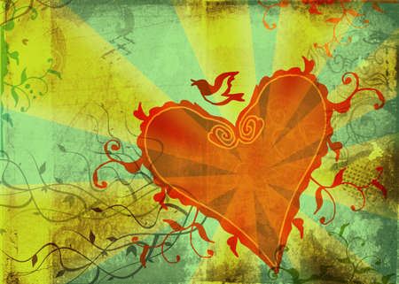 grimy: Grunge green page with hand-drawn heart and floral shapes on rays rustic background Stock Photo