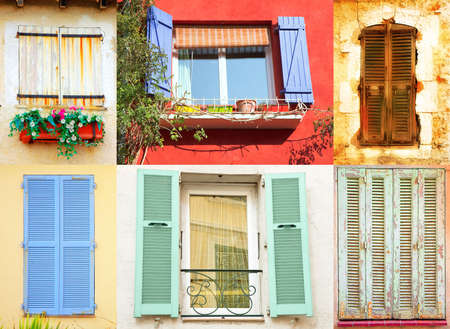 Traditional French windows collection with wooden shutters in variety of colours and styles photo