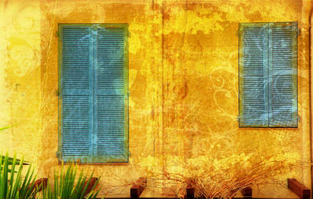 pealing: Traditional French windows with purple shutters on grunge background with swirls and scrolls