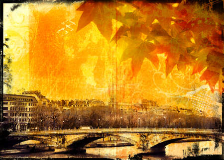 grubby: Grunge Paris bridge and leaves background with burnt edges and grubby texture
