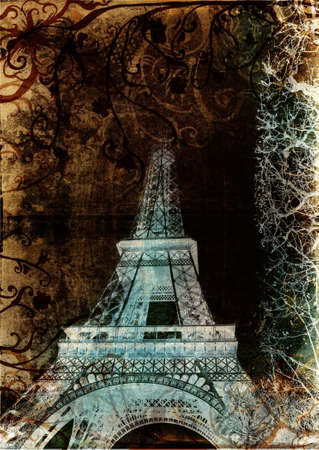 Eiffel Tower from Paris, France on grunge background with swirls and scrolls photo