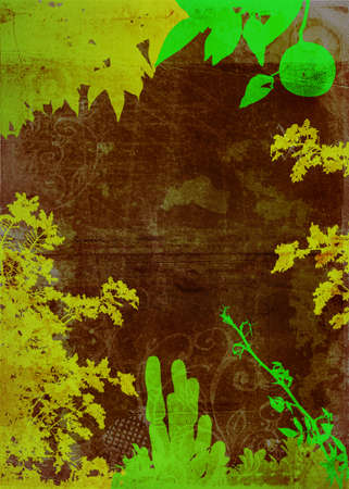 undergrowth: Grunge green garden background with plant shapes and rich texture Stock Photo