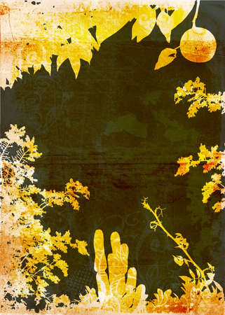 undergrowth: Grunge yellow and black garden background with plant shapes and rich texture Stock Photo