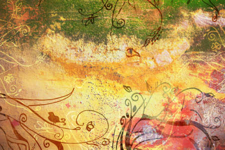 grubby: Grunge yellow page with green grubby painted texture and hand-drawn illustrations Stock Photo
