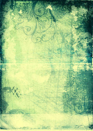 grimy: Grunge paper blue and yellow background with scratches, designs, torn patches and burnt border