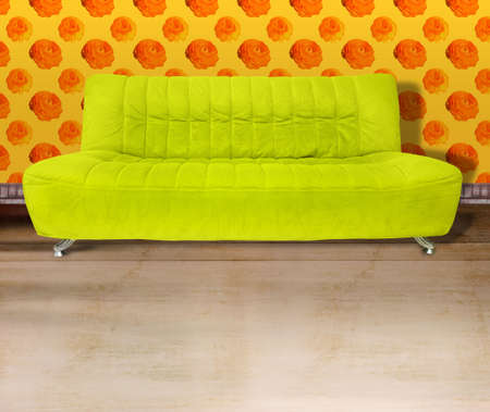 sitter: Lime green couch against poppy flower orange wallpaper and light brown concrete floor. Digital illustration from my images and designs. Stock Photo