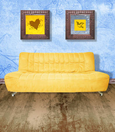 grubby: Yellow couch against grunge blue painted wall and brown wood floor. Digital illustration from my images and designs. Stock Photo