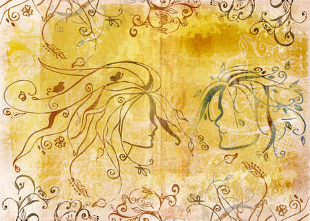 grimy: Couple drawing on grunge background with scrolls and swirls and floral elements