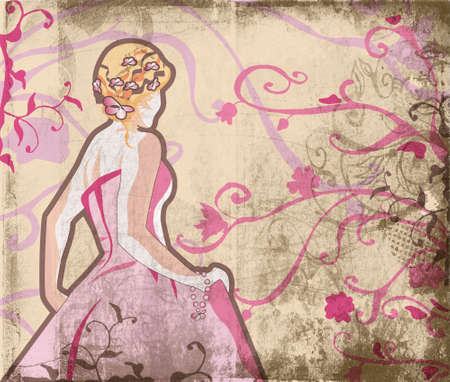 wedding dress back: Grunge beautiful bride in pink dress on page with swirls and scrolls